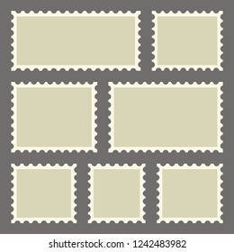 Set of blank postage stamps of different sizes on dark background. Vector illustration