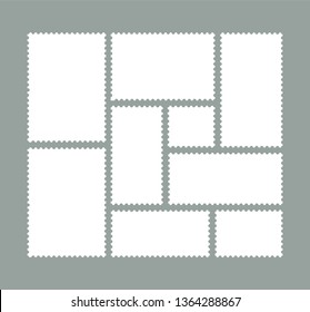 Set of blank postage stamps. For mail letter.