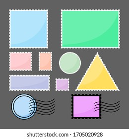 Set of blank postage stamps in vibrant colors. Jagged border postal sticker sticker template. Vector illustration.