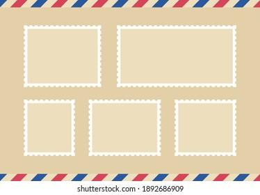 Set blank postage stamp.Toothed border mailing postal sticker template. Vector graphic desig.
