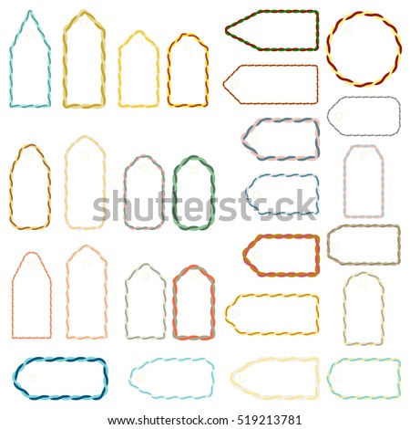 graphic regarding Blank Tags Printable known as Established Blank Printable Labels Tags Present Inventory Vector (Royalty