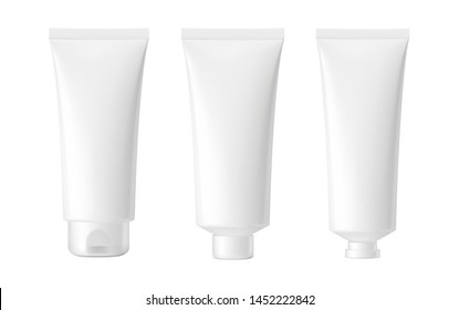 Set of blank realistic cosmetic tubes isolated on white background. Can be used for cosmetic, medical, gels, creams, shampoo and pastes. Face, side and back view. Vector illustration. EPS10.