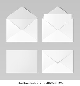 Set of blank realistic envelopes mockup