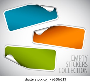 Set of blank rectangle labels with rounded corners