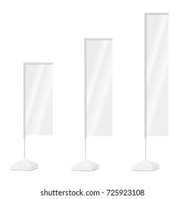Set of blank rectangular flags. Outdoor advertising vertical flag isolated on white background. Vector illustration