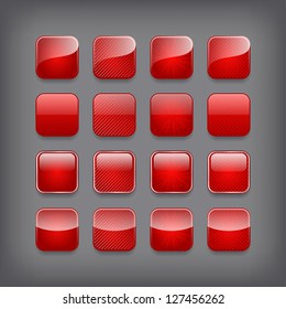 Set of blank red buttons for you design or app.