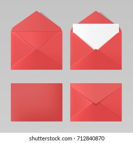 Set of blank red color realistic envelopes mockup