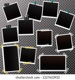 Set of blank retro polaroid frames with shadow isolated on a transparent background. Polaroid  Vector illustration EPS10