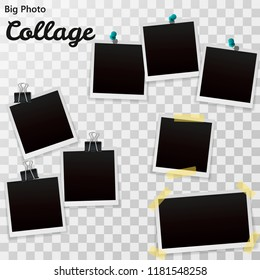 Set of blank retro Polaroid photographs with shadow isolated on a transparent background. Realistic Polaroid empty photo frames, mockup template. Polaroid Vector illustration EPS10.