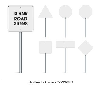 Set of blank road signs