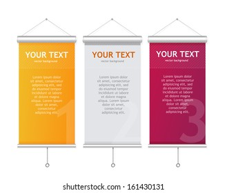 Set of Blank roll up posters. 1,2,3 concept