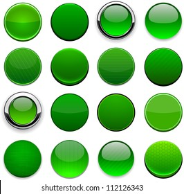 Set of blank round green buttons for website or app. Vector eps10.