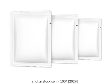 Set of blank sachet packaging for food, cosmetic and hygiene. Vector illustration on white background. Ready for your design. EPS10.