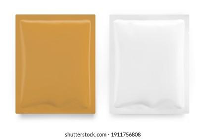 Set of blank sachet packaging mockups. Vector illustration on white background. Ready for your design.