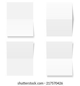 Set - blank sheet of white paper - folded