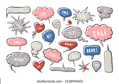 Set of blank speech bubbles in the style of handmade graphics. Dialog windows with phrases: Hi, Yes, Wow, Welcome, Oh, Lol, Omg, Boom, Cool
