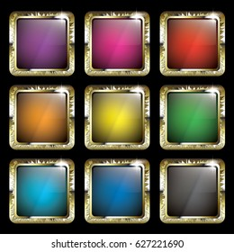 Set of blank square multi color backgrounds with a golden frame, with space for your text. Vector illustration.