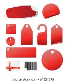 Set of blank stickers and tags isolated on white vector illustration