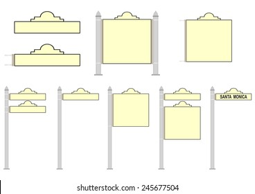 Set of blank street signs on a white background. Vector