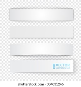 Set of blank stripe paper banners with realistic shadows on transparent background. RGB EPS 10 vector illustration