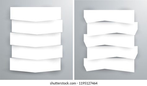 Set of blank stripe paper horisontal banners with realistic shadows. Element for advertising & promotional message isolated on gray background. Vector illustration EPS 10 for your design and business