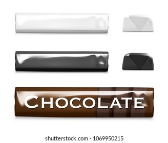 Set of blank template of packaging stick bar. Vector illustration on white background. Template can be use for your design, presentation, promo, adv. EPS10.
