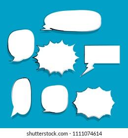 Set of blank template in Pop Art style.comic text bubble.speech.frame talk.half tone.cartoon box.dialog box.doodle style