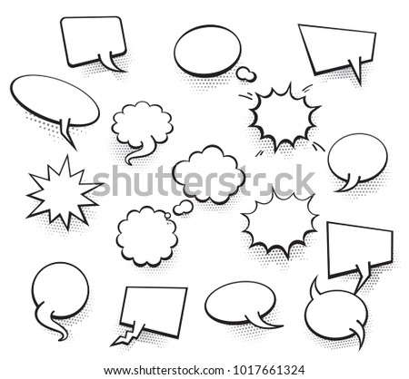 Set Of Blank Template In Pop Art Style Vector Comic Text Speech Bubble Halftone Dot
