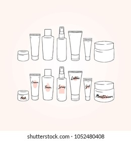 Set of blank template skin care hand drawn vector illustration with cream,lotion,gel,toner,spray,mask,moisturizer.Packaging pot. White plastic cosmetic jar product.