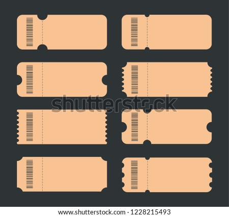 set blank ticket ticket icons ticket stock vector royalty free