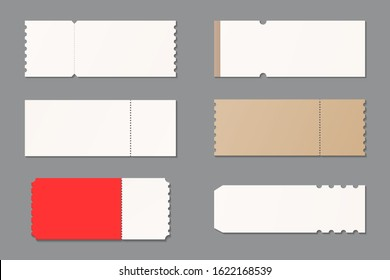 Set of blank ticket mockup template. Concert, party, festival, lottery or coupon ticket. Mockup vector isolated. Template design. Realistic vector illustration.