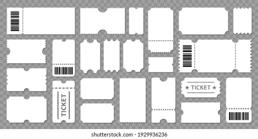 Set blank ticket template. Concert ticket, lottery coupons. Vector coupon - stock vector