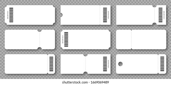 Set of blank tickets, coupons and vouchers with ruffle edges. Ticket and voucher mockups, white cardboard texture. Concert and cinema ticket, discount voucher and gift coupon template. Vector