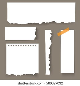 Set of blank Torn paper sheets. Vector note pieces collection with sticky tape.