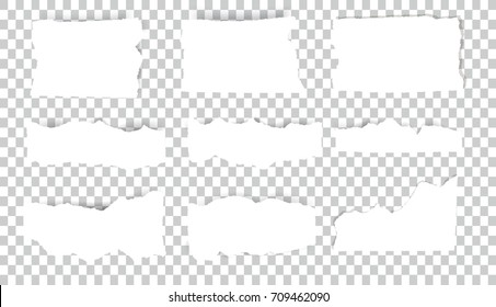 Set of blank Torn paper sheets. Vector note pieces collection with sticky tape