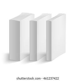 Set of blank vertical books cover template. Soft cover. Thin, medium and thick books. Perspective view. Vector illustration.