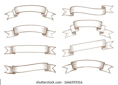 Set of blank vintage ribbon banners elements.