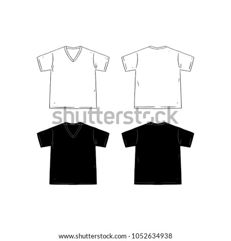 171a7e9fa263 Set of blank v-neck t-shirt design template hand drawn vector illustration.  Front and back shirt sides. White and black male t-shirt on white  background.