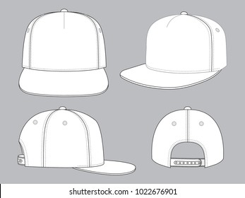 Set Blank White 5 Panels Hip Hop Cap With Adjustable Snap Back Strap For Template Vector.