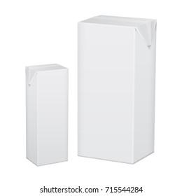 Set of blank white cardboard package for beverage, juice, milk or yogurt for your design