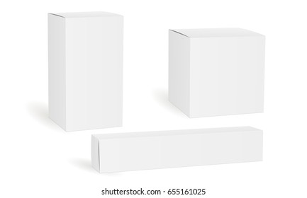 Set of blank white cosmetic, medical or product boxes isolated. Packaging mockups rectangular, square, long, for design or branding. Vector illustration