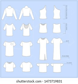 Set of blank white flat women's Tops. Different Tops in front and back views on blue background. Simple vector illustration.