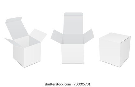 Set of blank white product packaging boxes, open and closed mockups. Three square templates in different positions for design or branding. Vector illustration