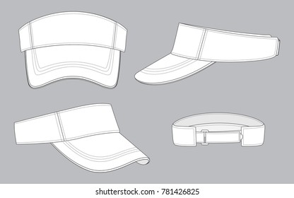 Set Blank White Sun Visor Cap With White Sandwich And Adjustable Hook And Loop Strap Vector.