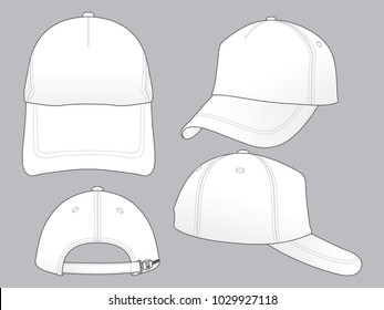 Set Blank White Trucker Cap With Plastic Slide Buckle Strap Vector For Template.