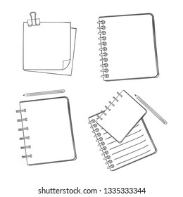 Set blanks page of notebook, sketchbook, album. Pencil lie near notebook. White paper form with a clip, reminder, note.