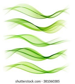 Set of blend abstract wave. Vector wavy smoke lines. Green color