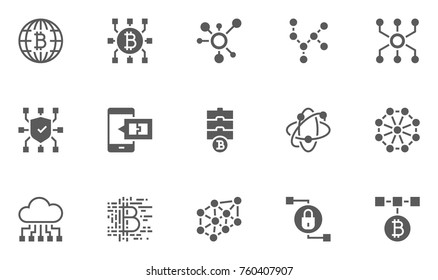 Set of Blockchain Technology Icons with Digital Currency, E-wallet, Electronic Purse, International Transactions and more.