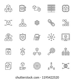set of blockchain technology system icons with simple thin line concept and editable stroke