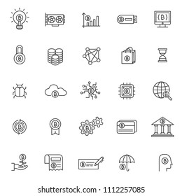 set of blockchain tecnology icons, with black thin line style, use for business web icon, analyst, bitcoin, business, cryption, digital business, marketing, e money.